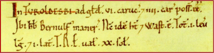 Thoralby, Domesday image
