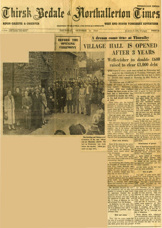 Thoralby V.H.: Headline News: The Front Page, Thirsk Bedale & Northallerton Times, 15.10.1953