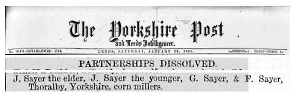 Sayer Partnership Dissolved, Mill 1881