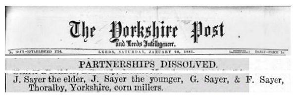 Sayer Partnership Dissolved, Mill 1881