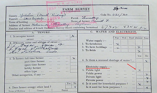 Electric Light - Farm Survey 1942 - Fran
