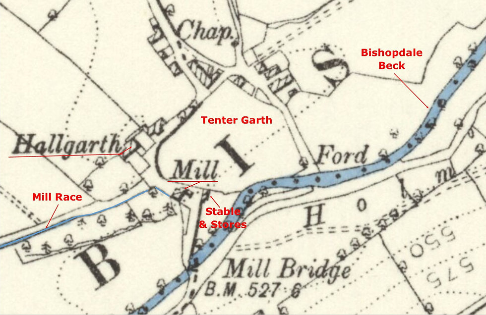 1891 OS - Thoralby Mill, tenter garth