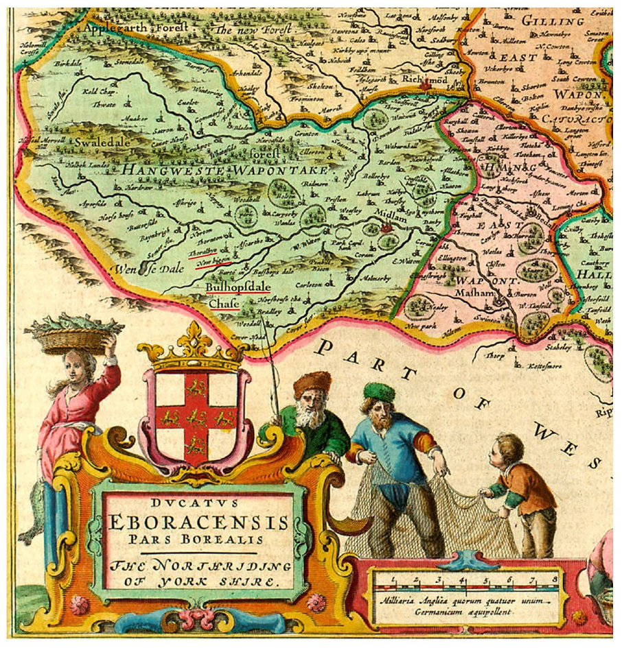 Bleaus Map, 1662: Thoralby, Newbiggin and Bishopdale