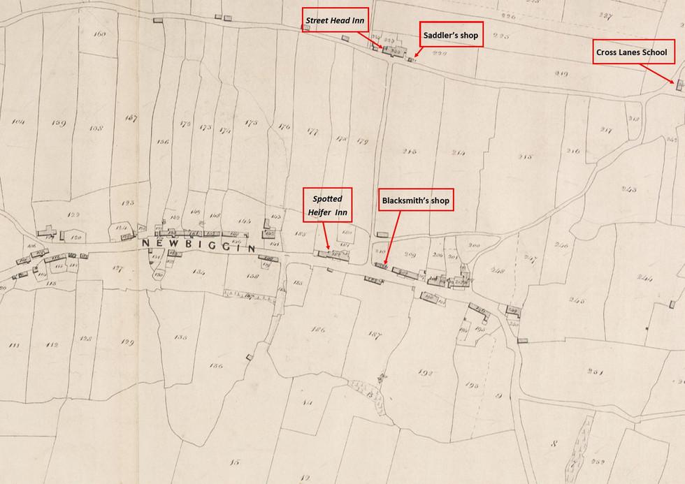 Newbiggin Tithe Map, 1839 - Inns & Shops