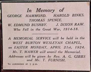 Names of the fallen, West Burton