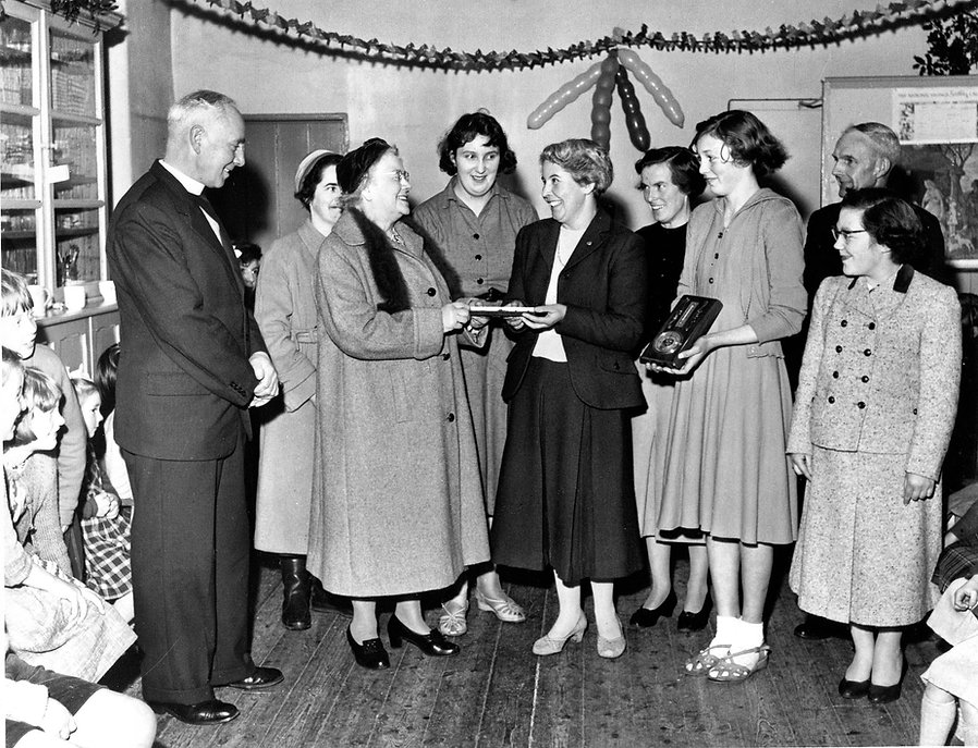 Presentation to Mrs Knifton, Cross Lanes School, 1958