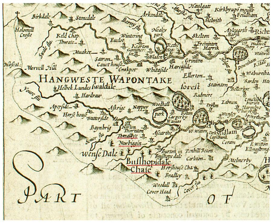 John Speeds Map, 1610: Thoralby, Newbiggin and Bishopdale
