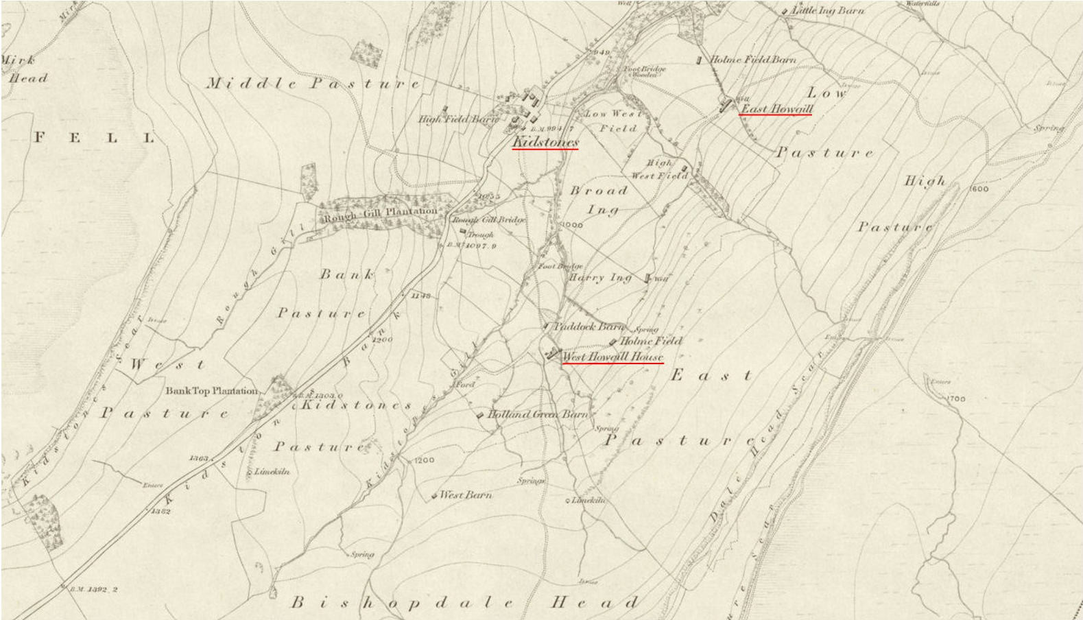 East Howgill - West Howgill OS 1856