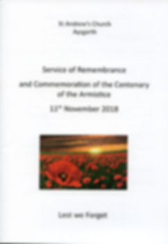 Order of Service Booklet Front Page R