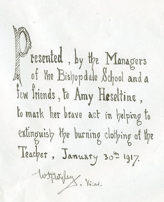 Amy Heseltine of Bishopdale School bible, presented to her for bravery, 1917