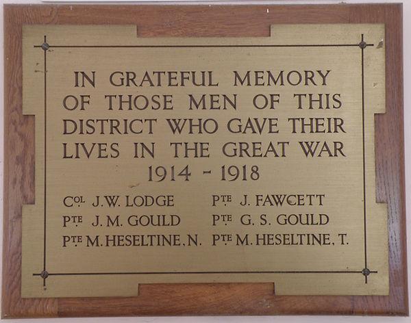 Thoralby & District War Memorial Plaque