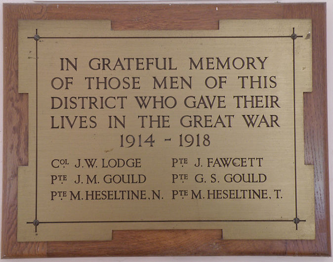 The Great War Memorial Tablet, in Thoralby Village Hall