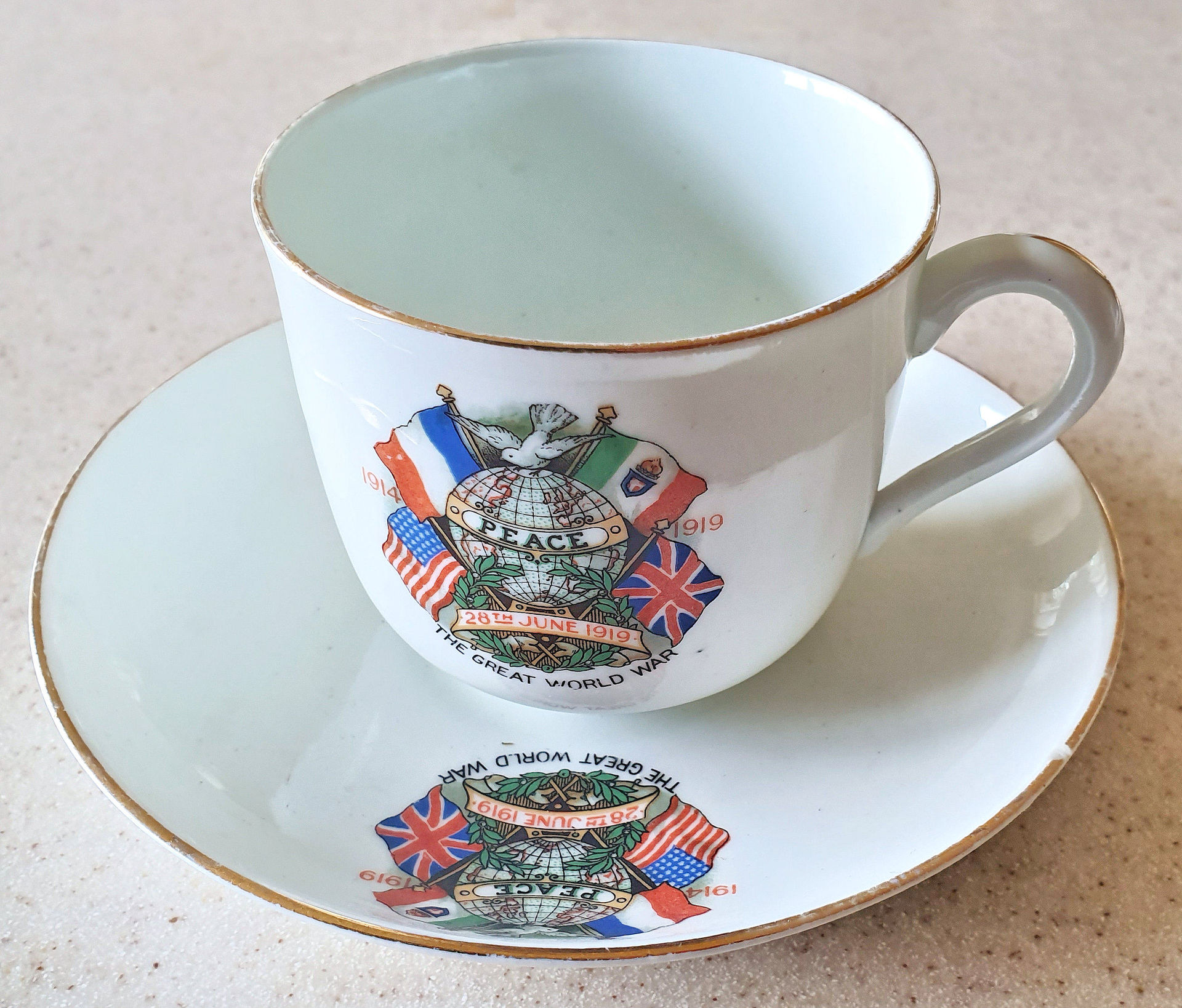 Commemorative cup and saucer from the Peace Celebrations in Bishopdale, 1919