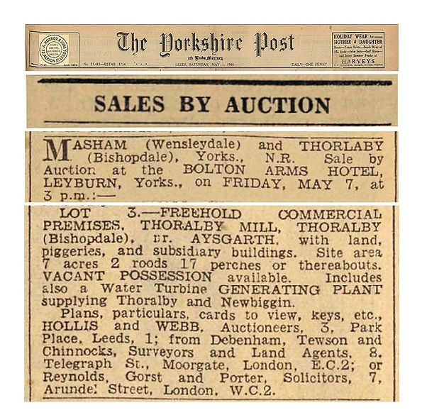Thoralby Mill Sale - Yorkshire Post and