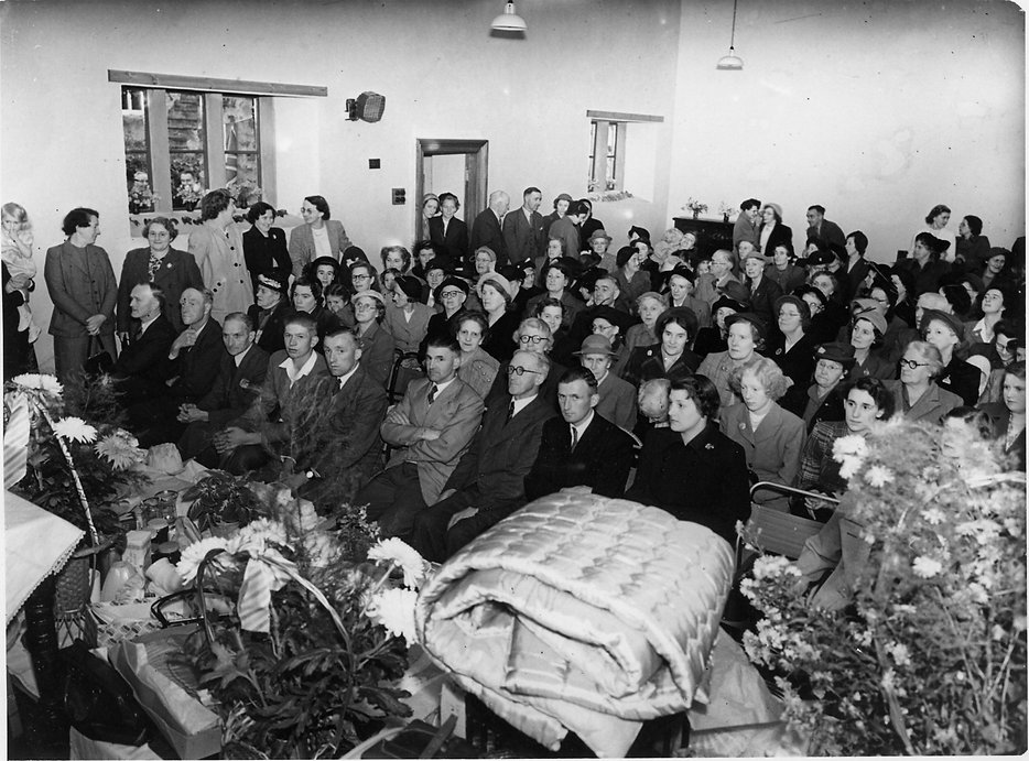 Inside Thoralby Village Hall Auction of Donated Goods Wednesday 7 Oct., 1953