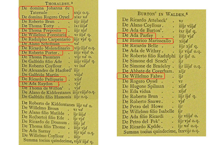 1301 Lay Subsidy: Thoralby and Burton in Walden