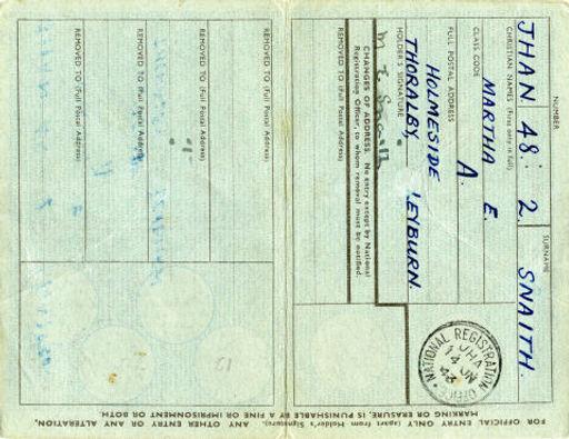 Martha E. Snaith 1939 ID Card B