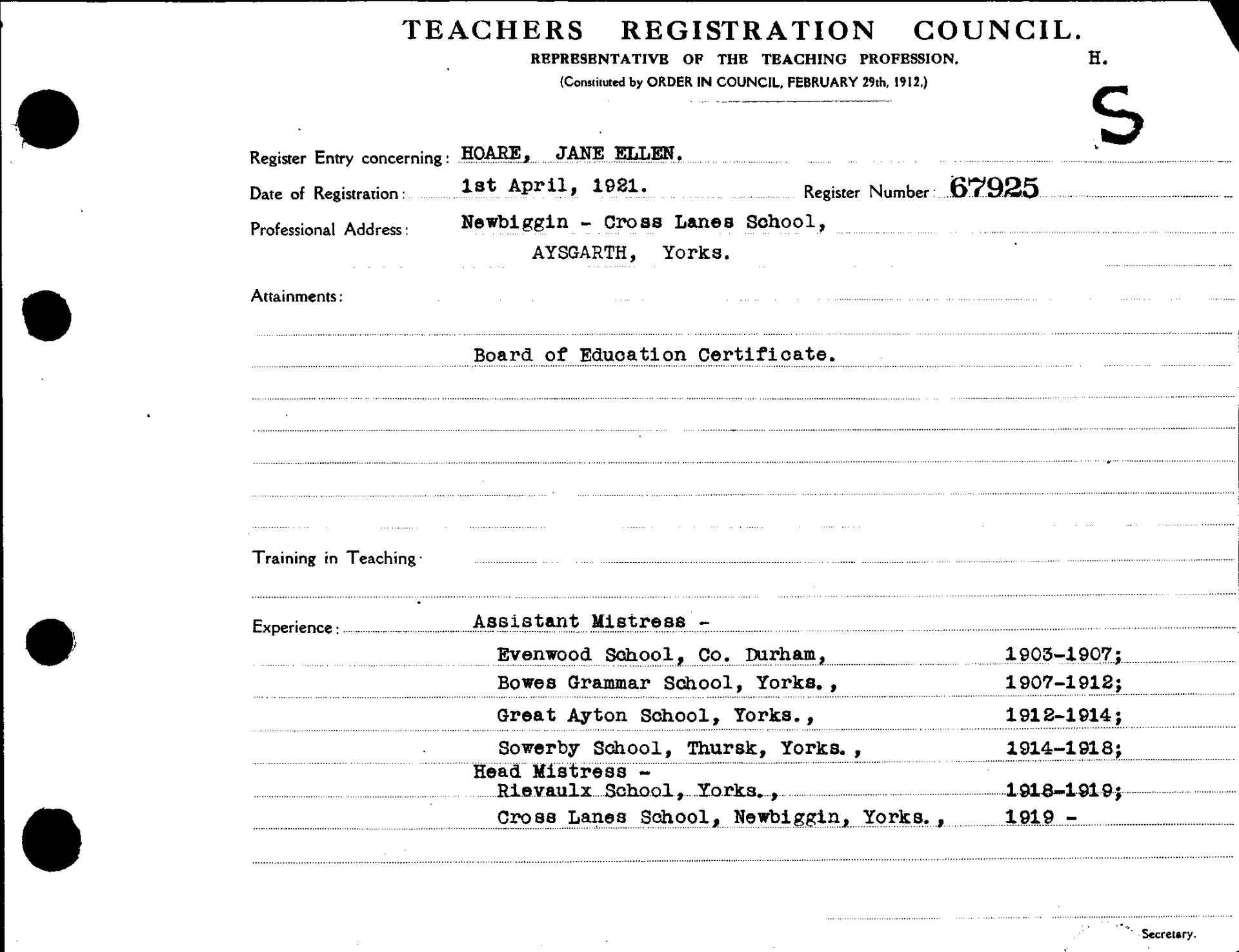 Jane Ellen Hoare - Teaching Certificate