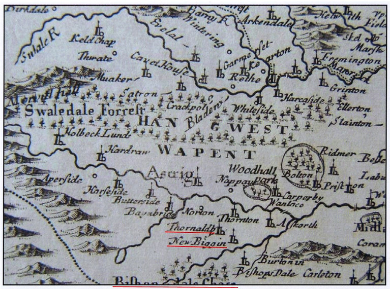 Mordens Map, c.1695: Thoralby, Newbiggin and Bishopdale
