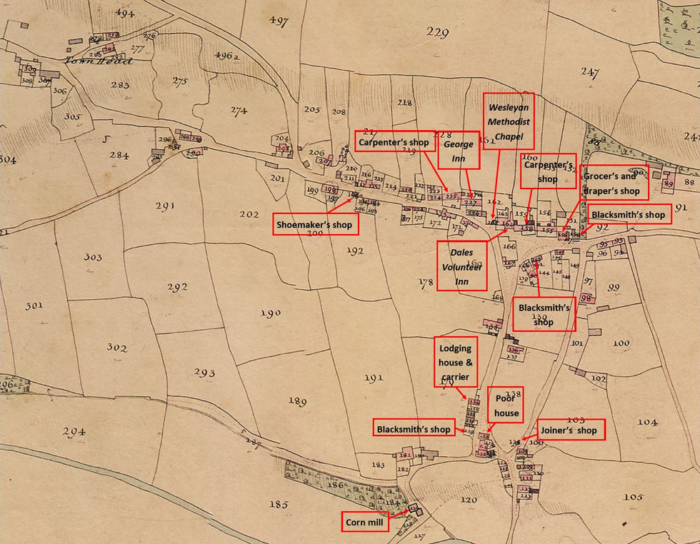 Thoralby Tithe Map 1840 - Inns & Shops