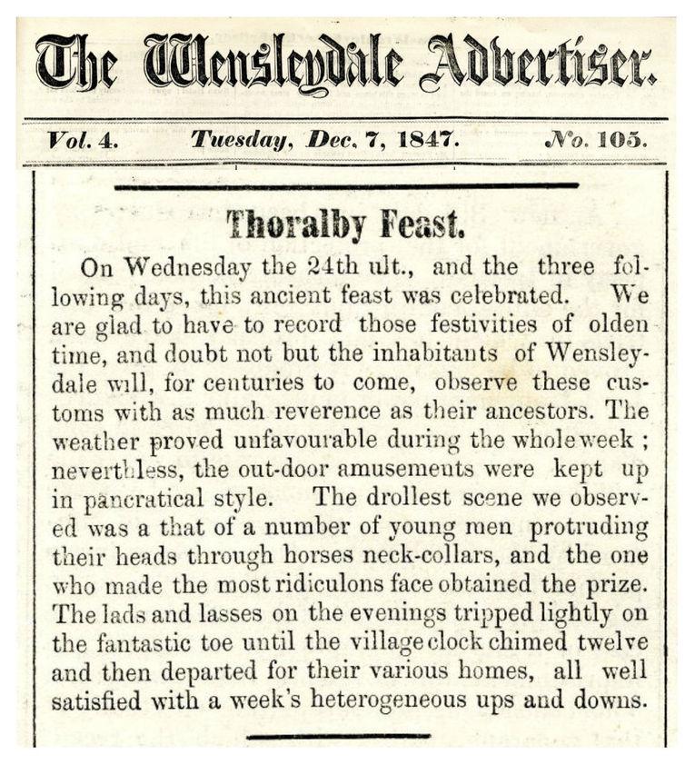 Wensleydale Advertiser Dec 7th 1847 - Th