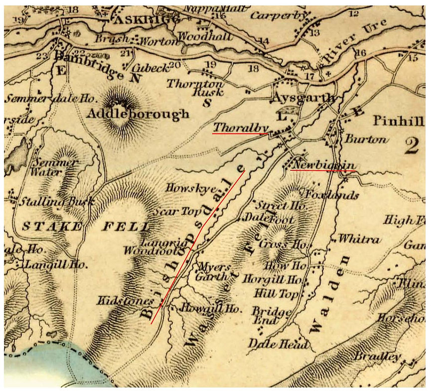 Greenwoods Map, 1834: Thoralby, Newbiggin and Bishopdale