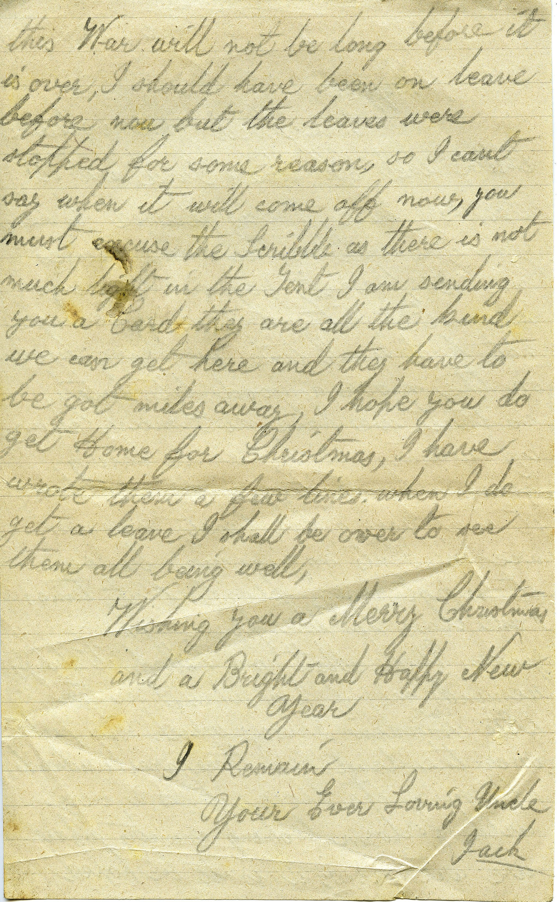 Letter from John Heseltine of Thoralby, 1917