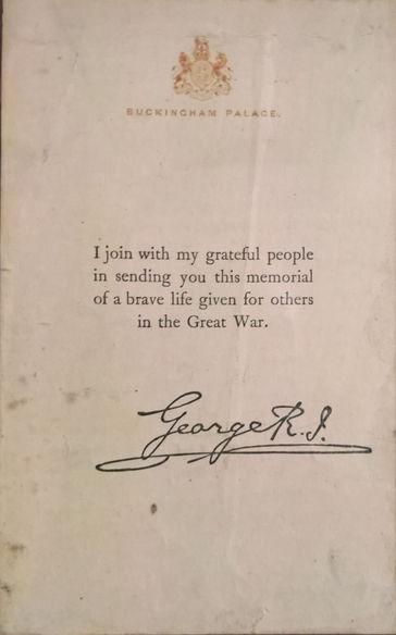 Harold Binks, letter from King George V  to Harold Binks' widow