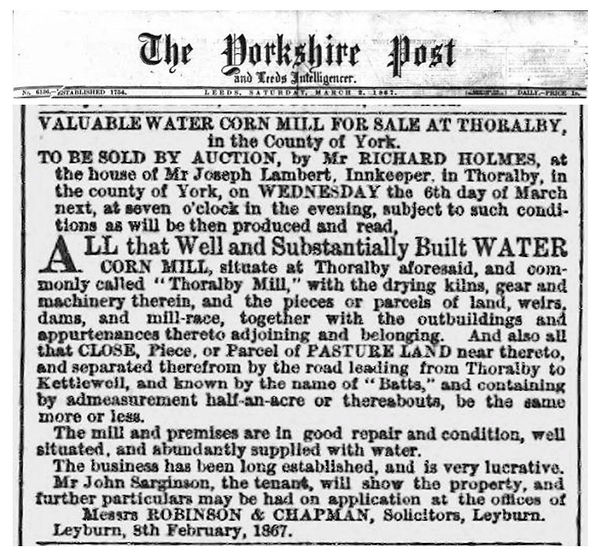 Thoralby Mill for sale, 1867
