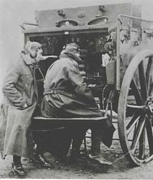 mobile telegraph machine, being used in