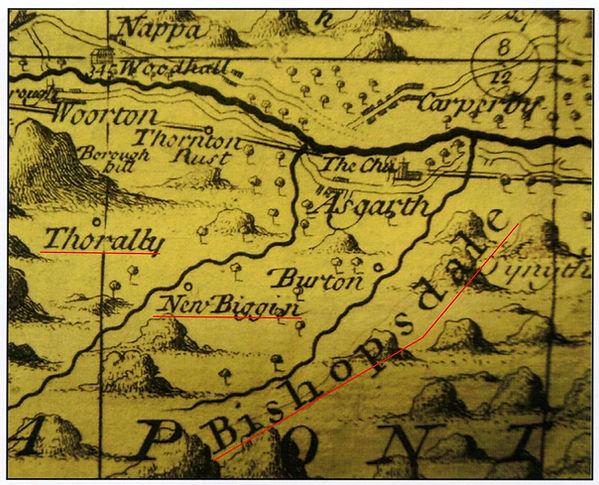 Warburton Map, 1720: Thoralby, Newbiggin and Bishopdale