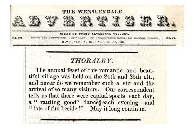 Wensleydale Advertiser Dec 8th 1846 - Thoralby