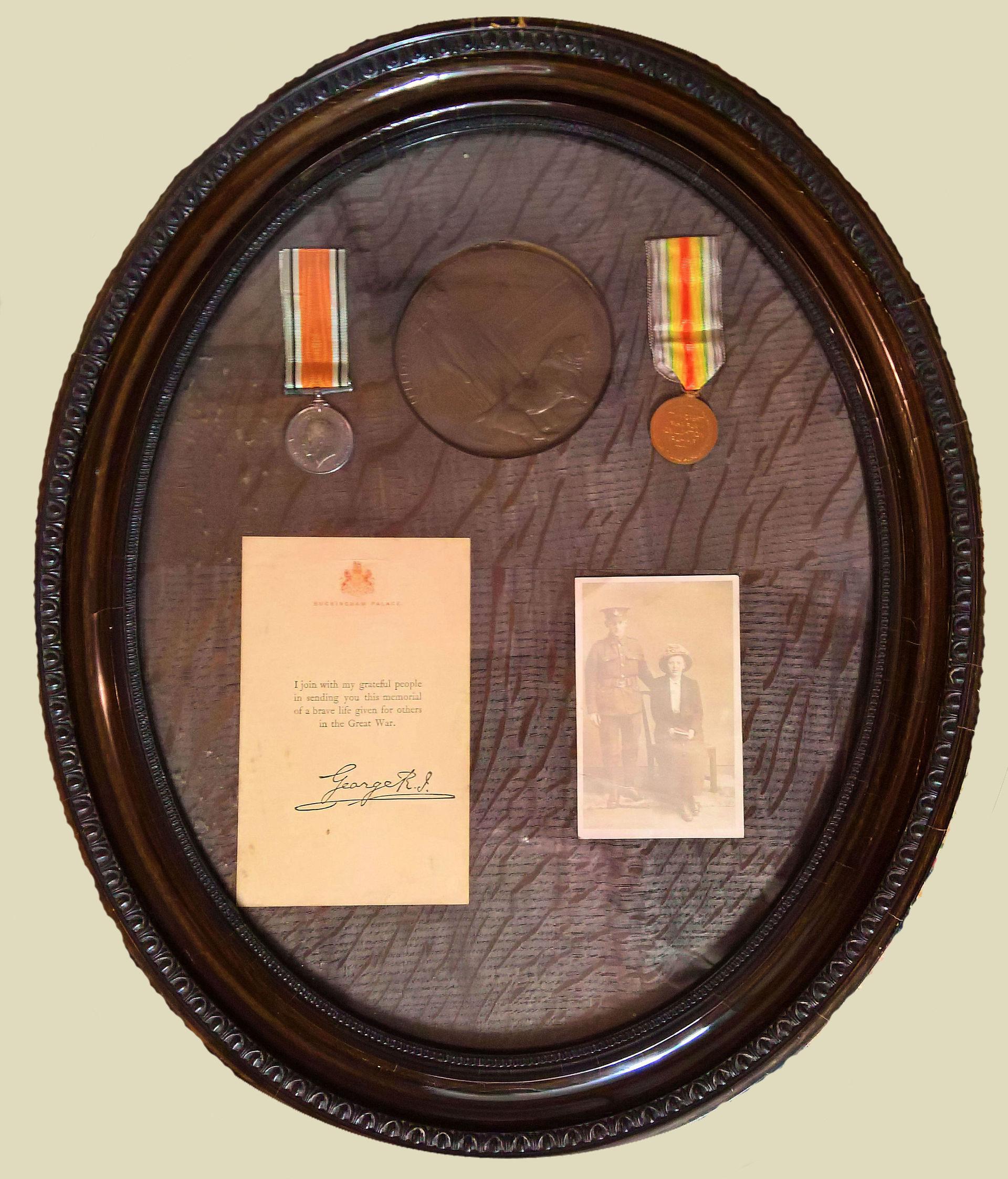 Harold Binks of West Burton, framed war memorabilia