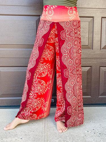Side Slit Flowy Pants,Wide Leg Trousers