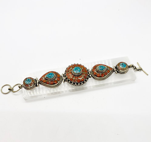 Vintage Tibetan Tribal Fusion Handmade Bracelet with Turquoise and Coral