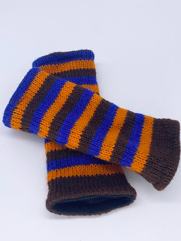 Handmade Crochet Multi Color Handwarmers with Fleece Lining