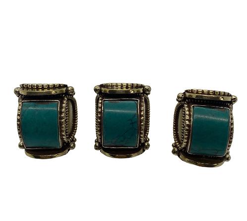 Tibetan Turquoise Gemstone Ring,Square Desing Cabochon stone Ring, Tibetan Silve