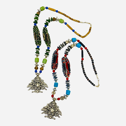 Bohemian Silver Indian Neckpiece with Beads