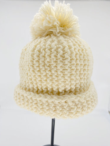Handmade Himalayas Fleece Lined Hat with Pompom from Nepal