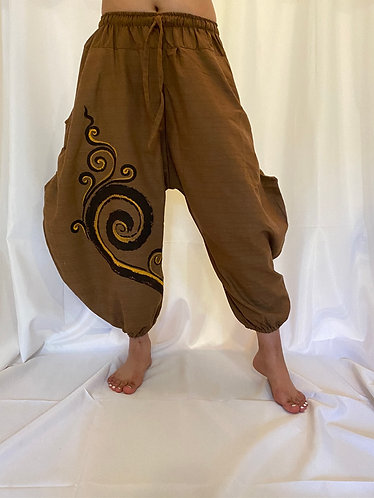 Drawstring Pants with Spiral Print