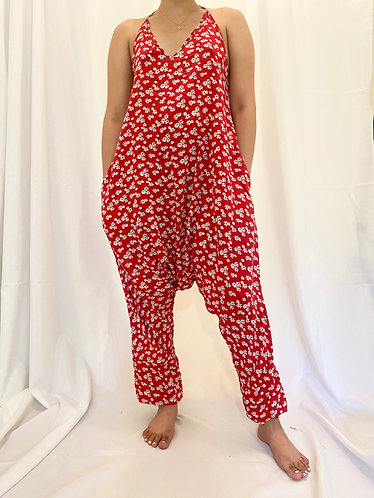 Red Flower Backless Jumpsuit