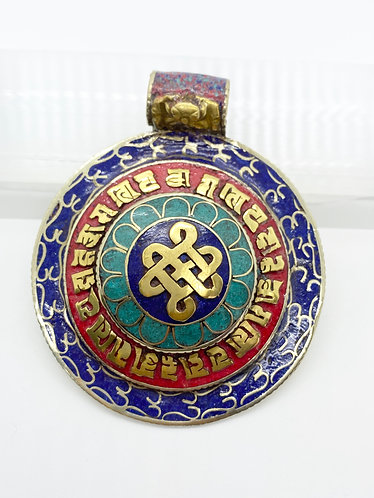 Ethnic Handmade Endless Knot Pendant with Mantra of Compassion