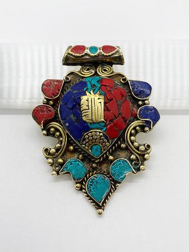 Handmade Tibetan Tribal Fusion Healing Mantra Engraved Pendant