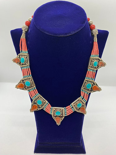 Handmade Boho/Ethnic Tibetan Tribal Fusion Necklace