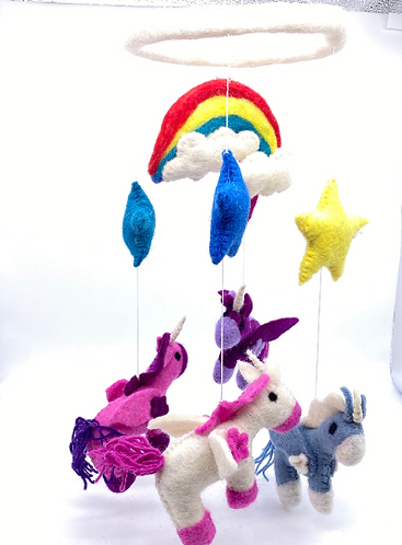 Handmade Felt Unicorn Mobile,  Nursery Decor Mobile,Crib Mobile,Nursery Mobile,