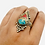 Thumbnail: Unique Multistone Rings  from Nepal, Turquoise/Coral Rings, Small Chip Stones Ri