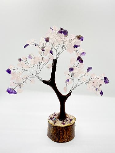"""8"""" Prosperity Tree/Fengshui Bonsai Tree, Rose Quartz Prosperity Tree, Amethyst P"""