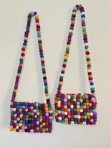 Handmade Felt Ball Bag with Straps, Unique Felt Bags, Felt Bags, Multicolor Felt