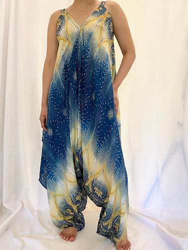 Bohemian Loose Fit Jumpsuit with Peacock Print