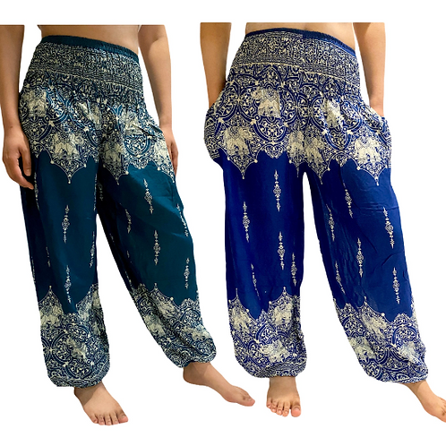 Elephant Print Lightweight Harem Yoga Pant